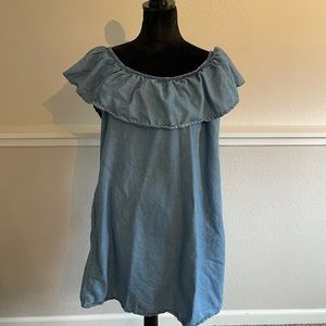 Passports Denim Off Shoulder Dress